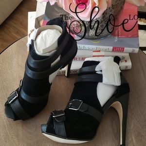 Spy Black Peep Toe Cut Out Heels